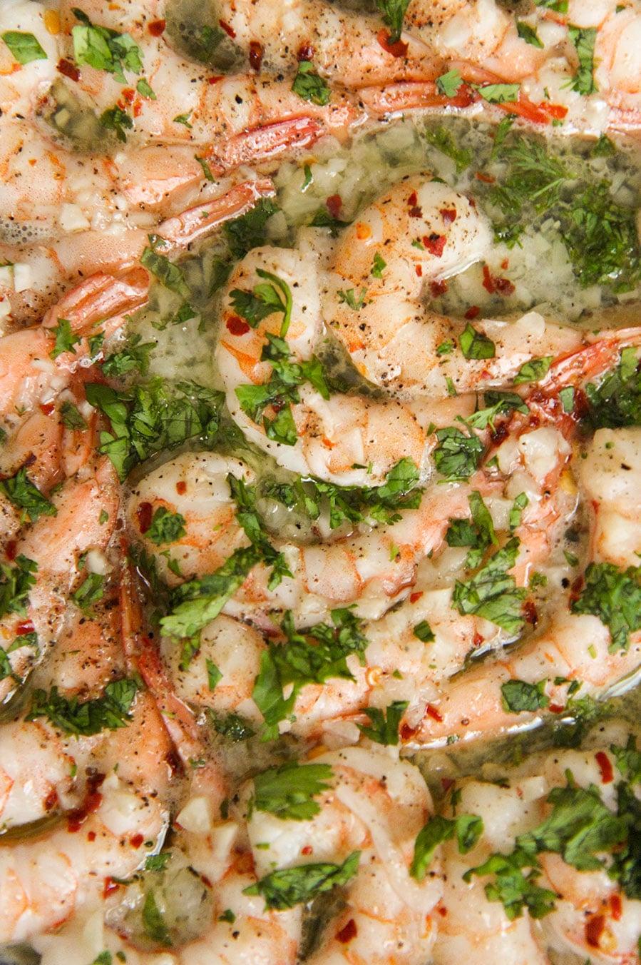 baked shrimp scampi up close.