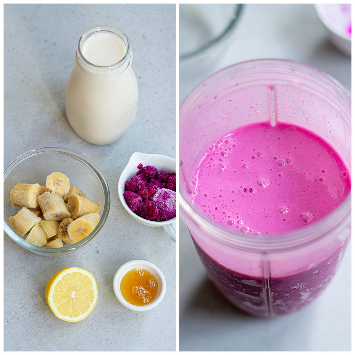 a collage with two photos, a photo showing bananas, milk, honey, lemon, and dragon fruit. The other photo showing all the ingredients blended in a blender.