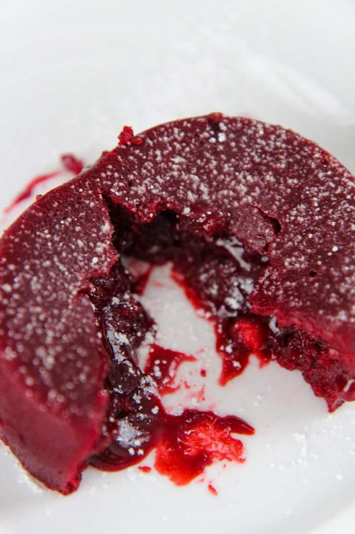 red velvet lava cake on a white plate