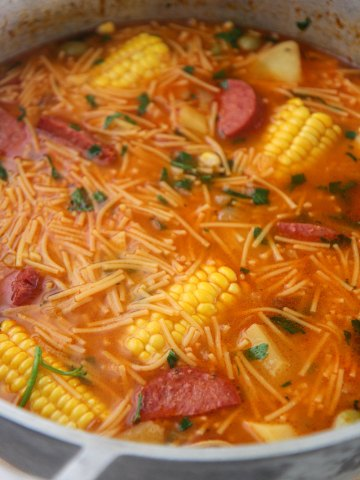 sopa de salchichon in a large pot.