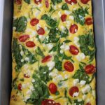 9x13 spinach and goat cheese frittata casserole up close.