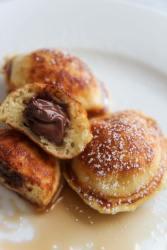 Nutella stuffed pancakes up close