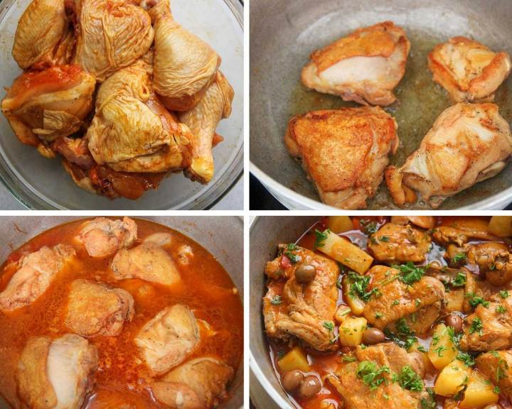 A collage with step by step instructions on how to cook pollo guisado.