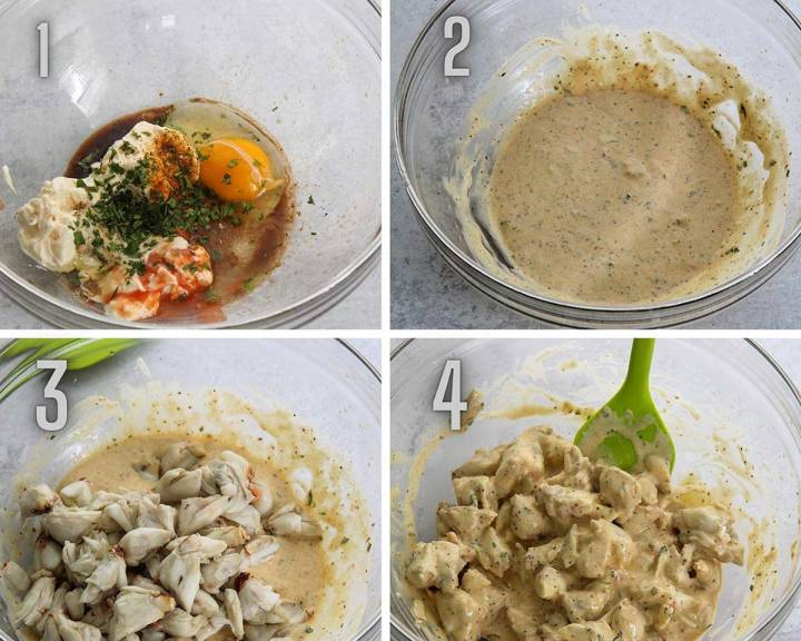 collage showing four steps how to prepare crab imperial and crab imperial sauce.