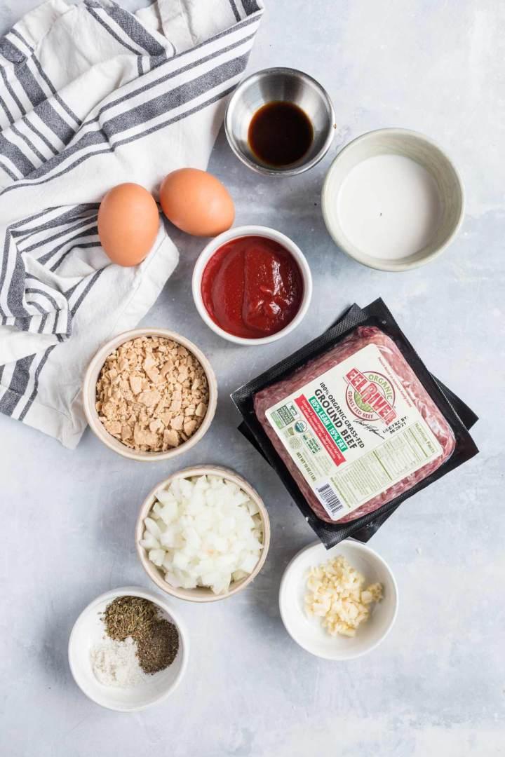 Ingredients that go in meatloaf.
