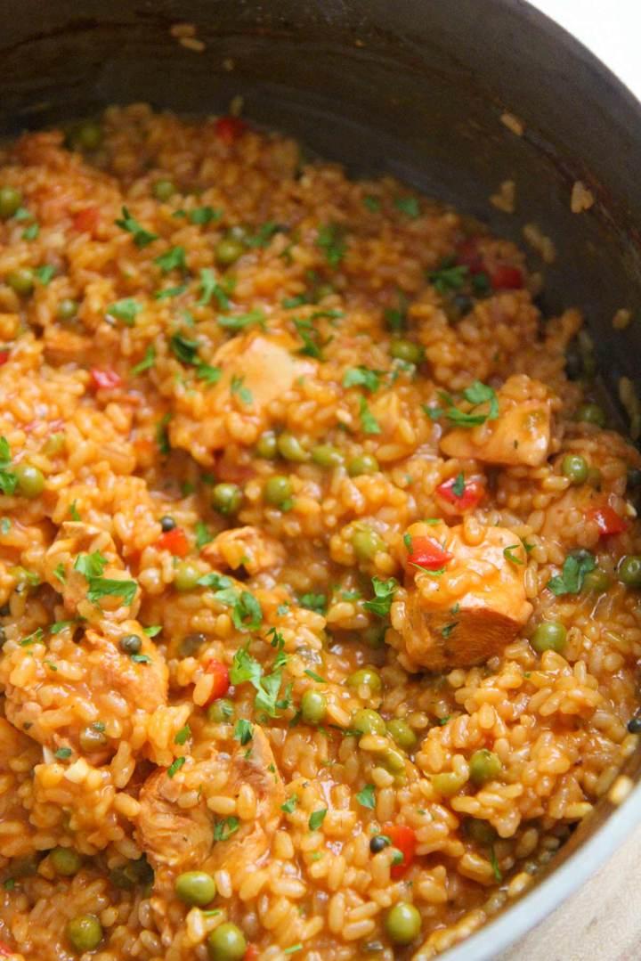 arroz con pollo a la chorrera up close.