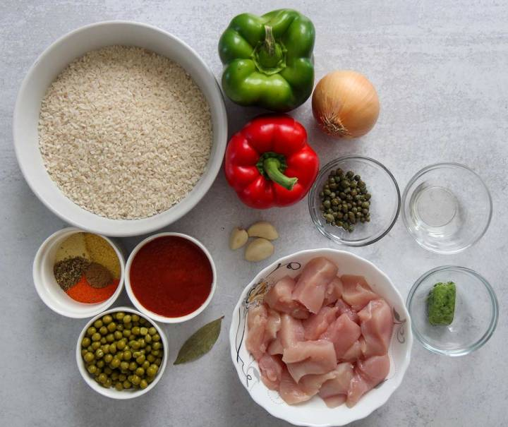 ingredients in small bowls.