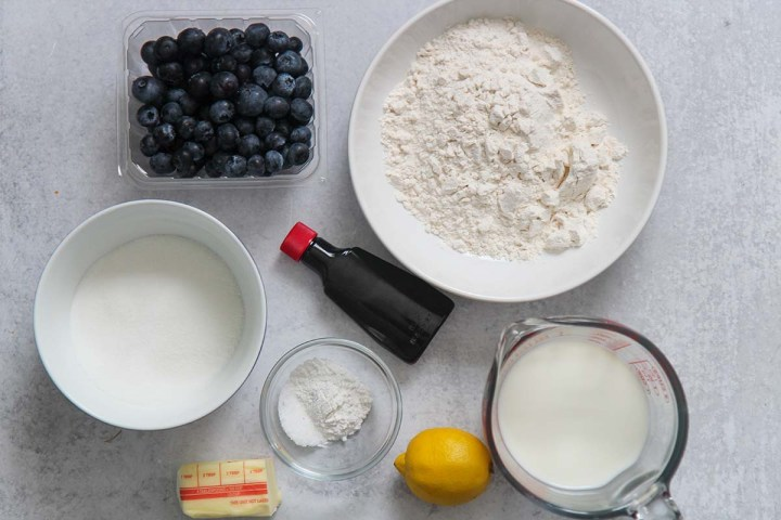ingredients for blueberry cobbler.