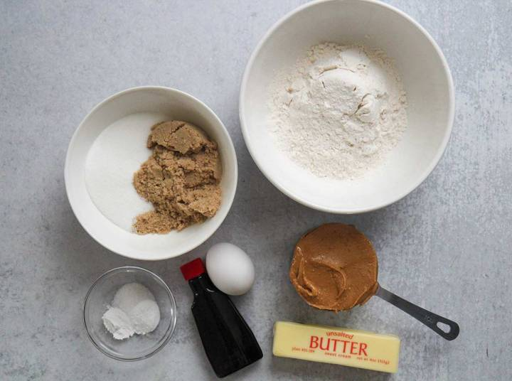 ingredients for peanut butter cookies.