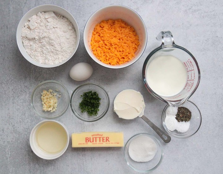 ingredients for cheese muffins.