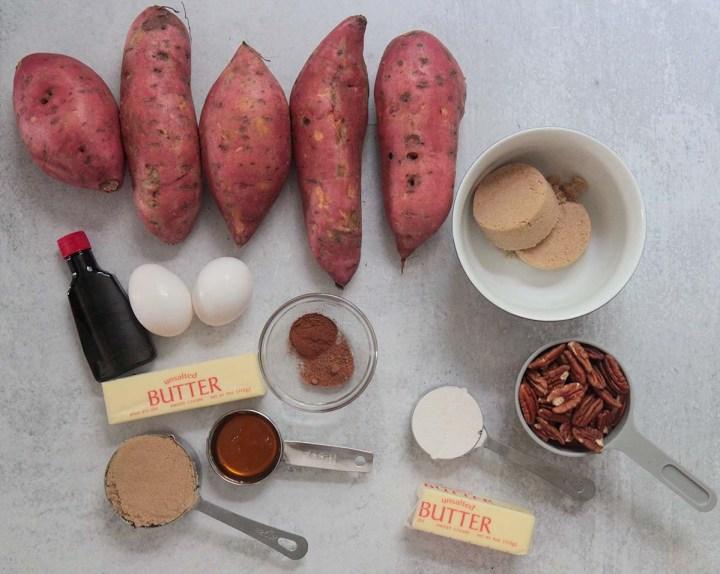 ingredients for crockpot sweet potato casserole.