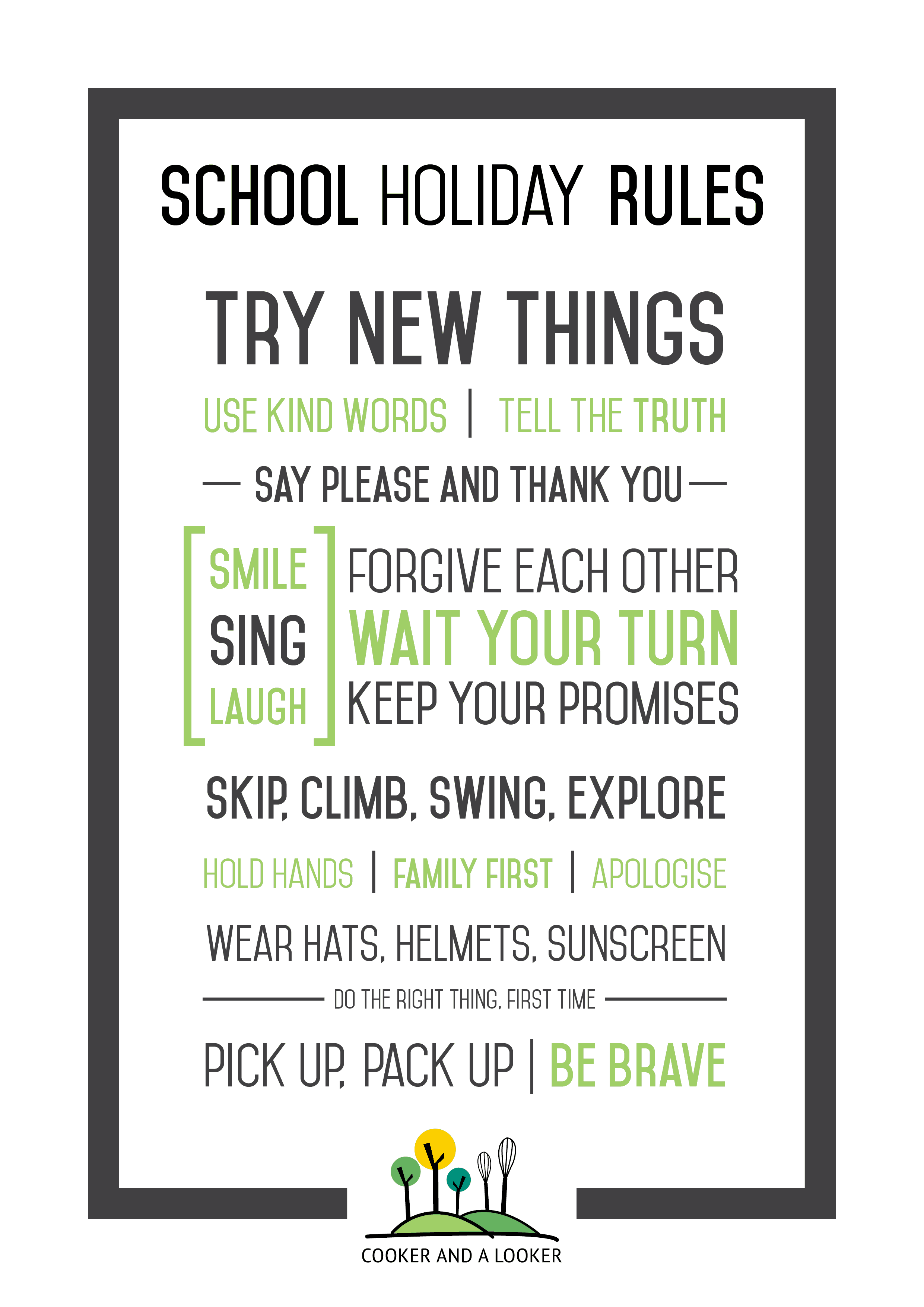 School Holiday Rules Free Printable