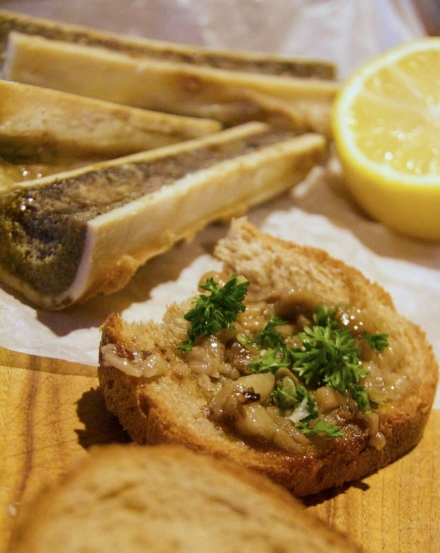 roasted marrow bones on toast