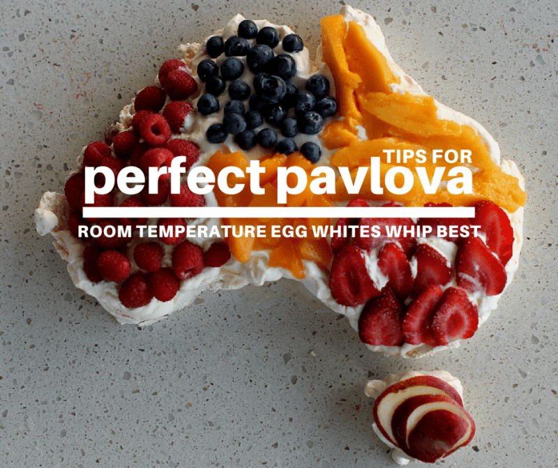 six tips for perfect pavlova | Room temperature egg whites whip best.