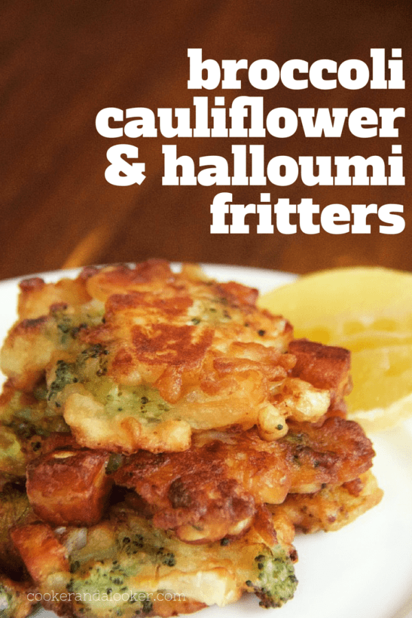 broccoli cauliflower and halloumi fritters