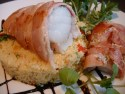 Monkfish fillets with bacon