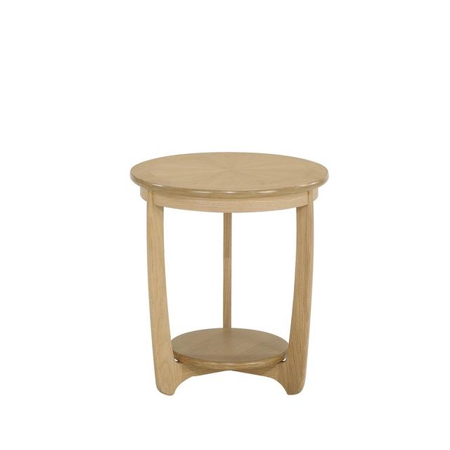 nathan shades oak sunburst round lamp table