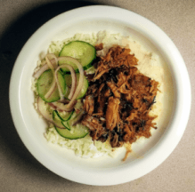 spicy pork shoulder pickled cucumbers over rice