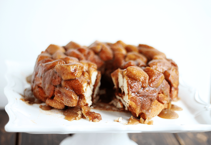 Monkey Bread on a square white cake stand