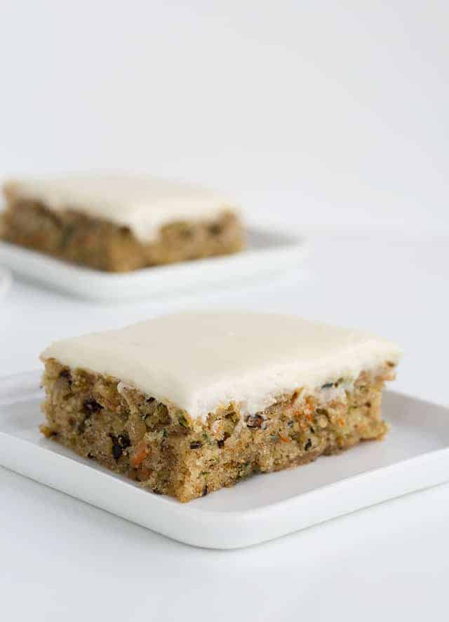 Picture of the zucchini bars on a white plate and white background