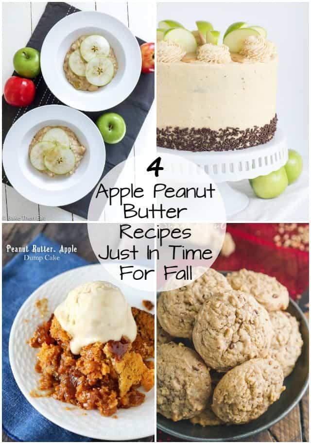 4 Apple Peanut Butter dessert recipes photo collage