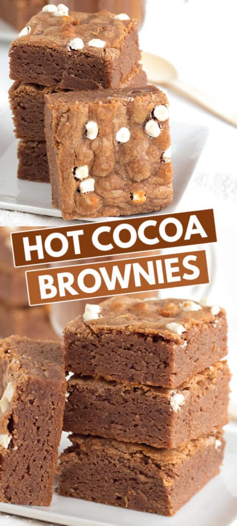 collage of photos for hot cocoa brownies with blocks of text in the middle