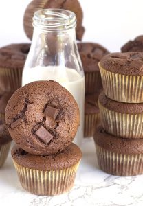 Double Chocolate Muffins - the perfect breakfast treat. Rich, chocolaty muffins loaded with semi-sweet chocolate chunks!