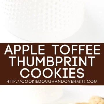 Apple Toffee Thumbprint Cookies - apple butter filled thumbprint cookies with bits of toffee in them. Don't forget the cream cheese drizzle to finish the cookies off!