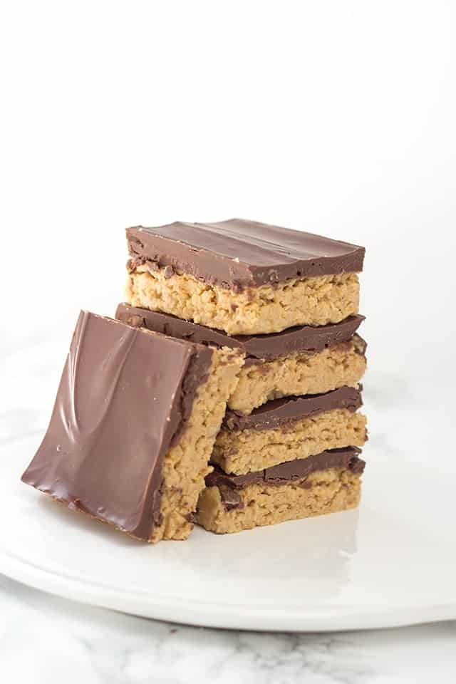 No Bake Peanut Butter Potato Chip Bars - sweet and salty peanut butter potato chip filling with a milk chocolate layer on top.