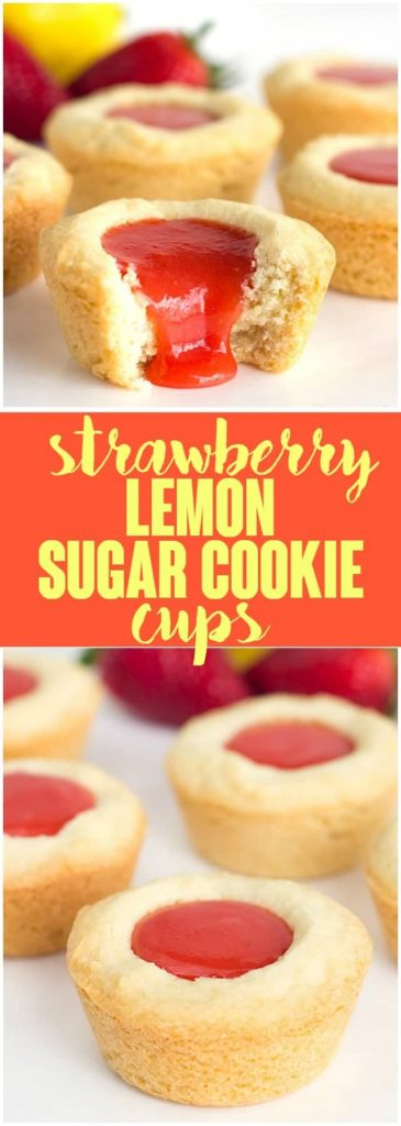 Strawberry Lemon Sugar Cookie Cups - tender sugar cookies baked in a cupcake tin. They're filled with a sweet and tangy strawberry lemon curd and make the perfect summertime cookie!