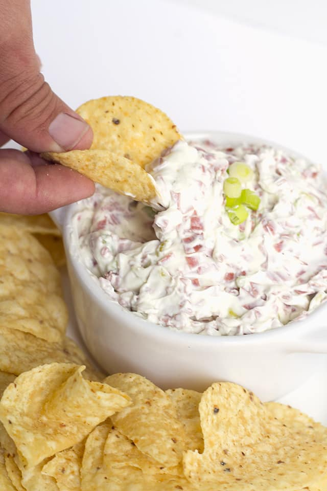 Chipped Beef Dip with Peperoncini - A quick and simple dip recipe that tastes amazing! The dip is salty, tangy, and the perfect appetizer!