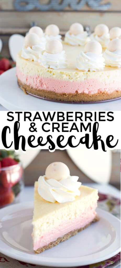 strawberries and cream cheesecake collage for pinterest