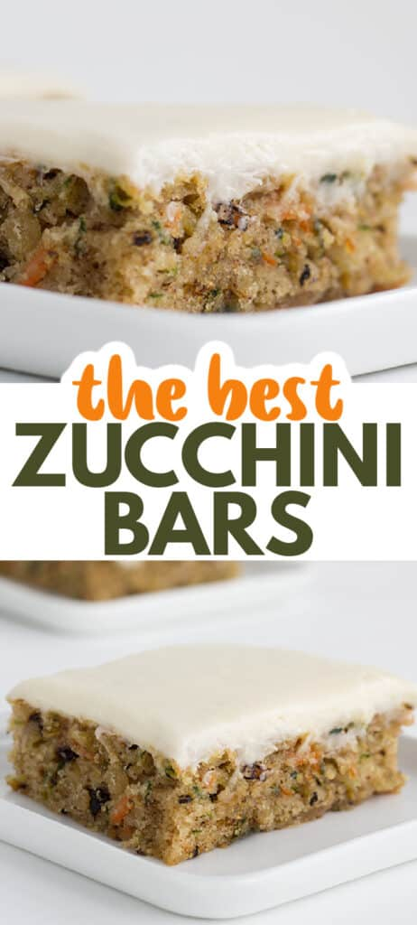 collage of photos of zucchini bars on a white square plate with the name of the recipe in the middle of the collage