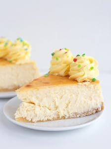 showing the slice of sugar cookie cheesecake