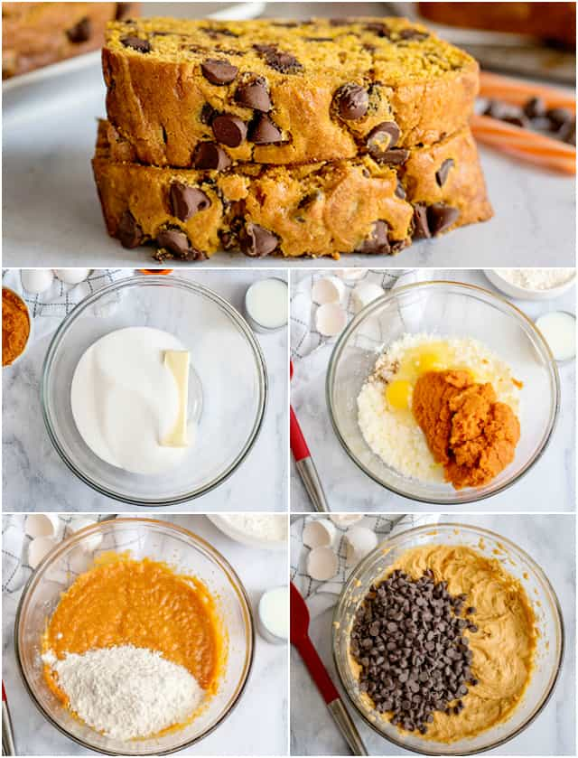 In process collage of how to make pumpkin chocolate chip bread