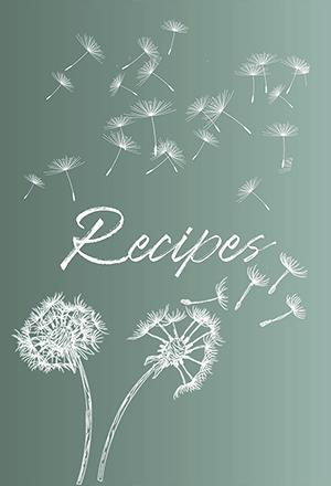 Green and white Dandelion Blank Recipe Book Cover