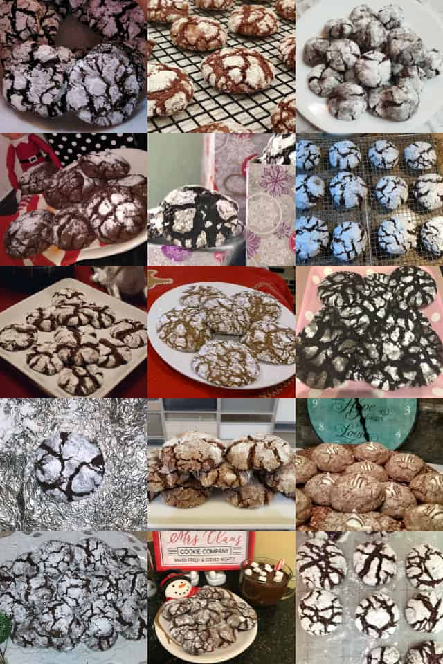 collage of chocolate crinkle cookies