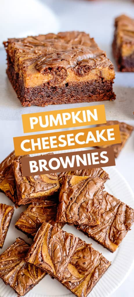 collage of photos for pinterest showing a side shot of pumpkin brownies and the tops with blocks of text for the recipe name