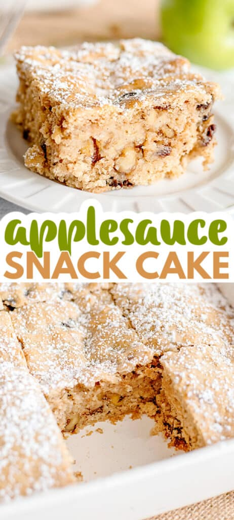 collage of images of applesauce cake for pinterest