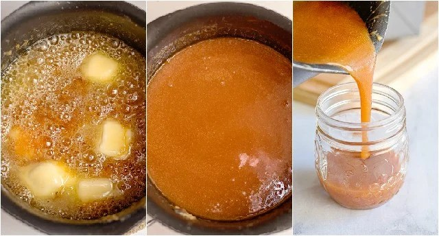 collage adding butter and pouring the caramel into a jar
