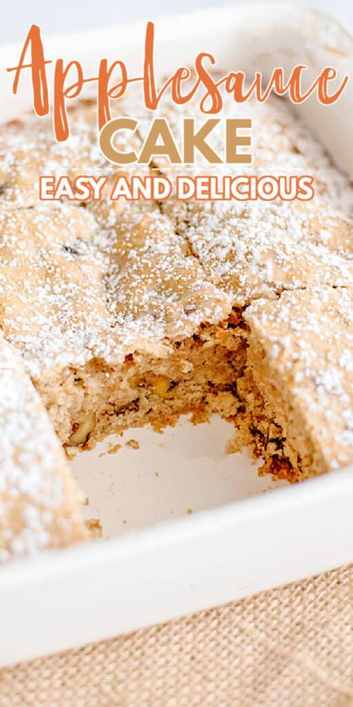 close up image of a pan of applesauce cake with a missing slice