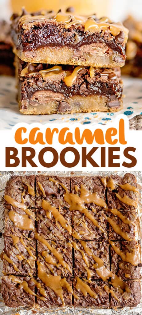 pinterest collage of stacked brookie bars and the whole brookie bar cut into squares with text in the middle