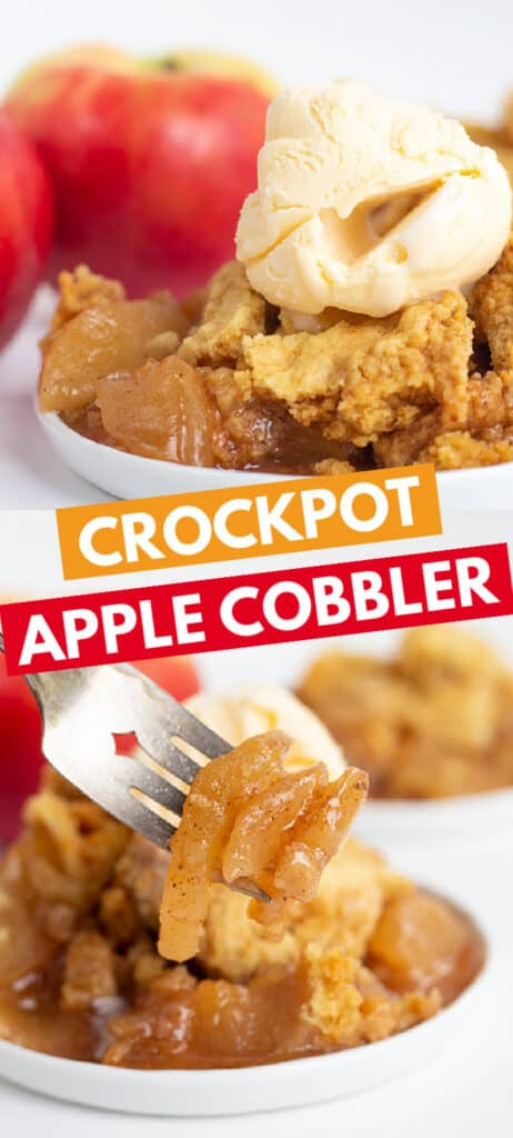 collage of two apple cobbler photos on white plates with blocks of text in the middle