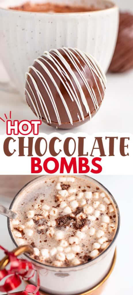 Collage of photos showing the bombs and after the bomb has been melted into hot cocoa