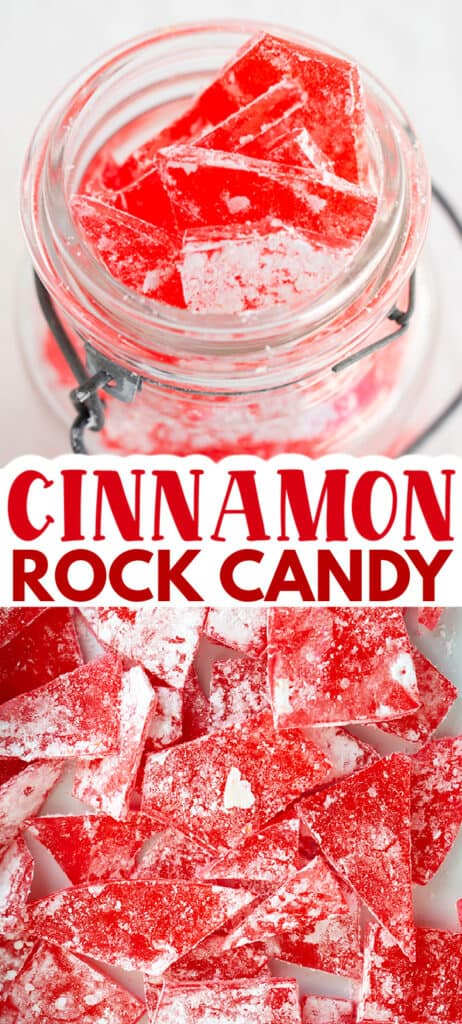 collage of two photos showing rock candy one spread out in a white pan and the top in a mason jar with text in the middle