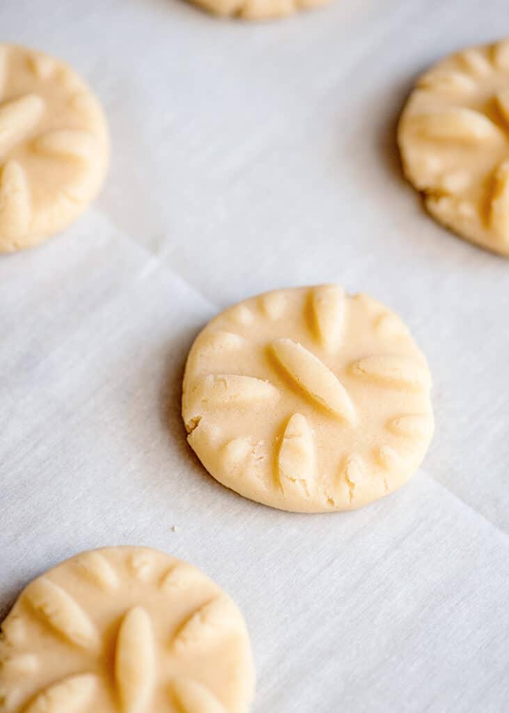 cookie dough on a parchment paper