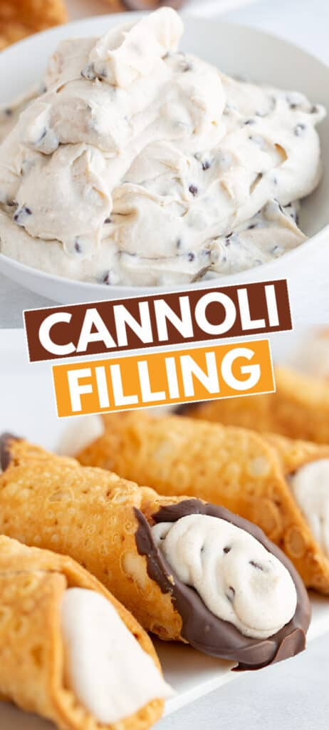 collage showing a filled cannoli shell and a second image of a bowl of cannoli cream filling in a glass bowl with the recipe name in the middle