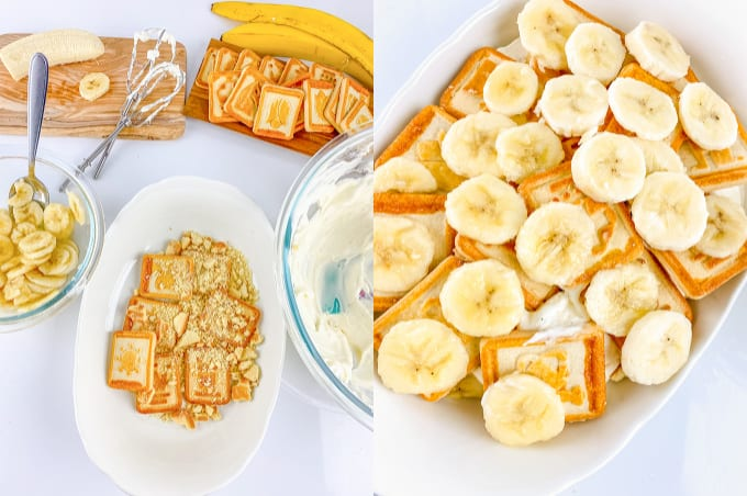 collage adding the layers of banana pudding in a casserole dish