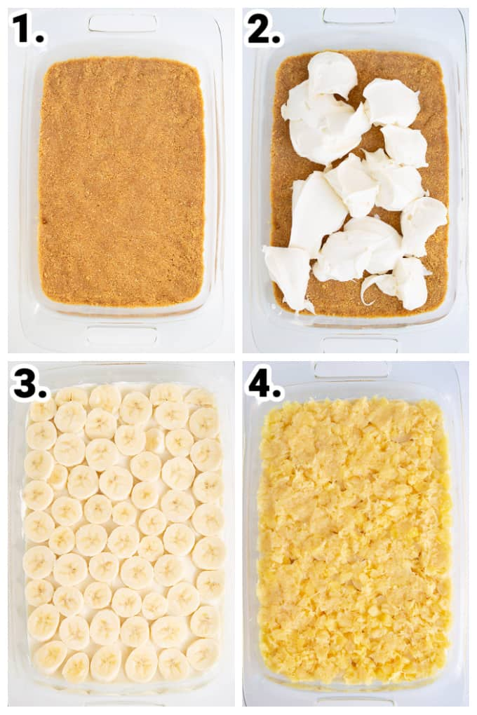 collage showing step by step on how to make no bake banana split cake