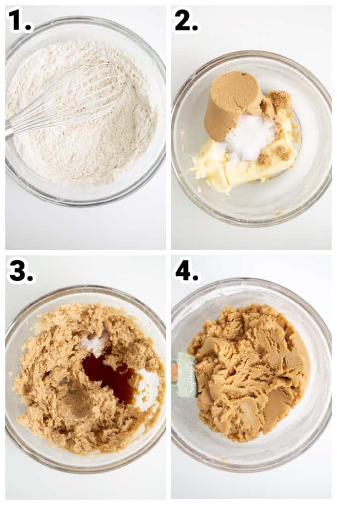 step by step photos of how to make the cookie dough by adding ingredients to a glass bowl on a white surface